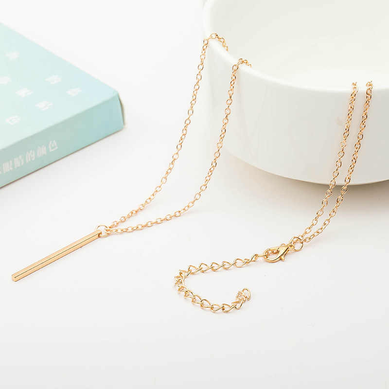 Simple Sliver Gold Black Plated Pendants Necklaces Long Sweater Link Chain Bar Charm Jewelry Accessories For Women Men