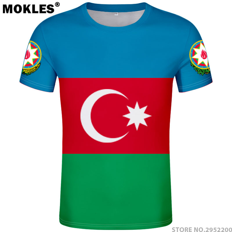 da6c056ad151 AZERBAIJAN t πουκάμισο δωρεάν έθιμο όνομα όνομα μαύρο άσπρο σημαία ...