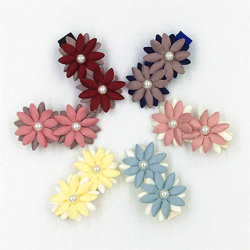 2pcsFashion girls flowers Hair Clip Cute Flower Handmade Flower Children Hairpin  headwear Hairgrip girls hair accessories