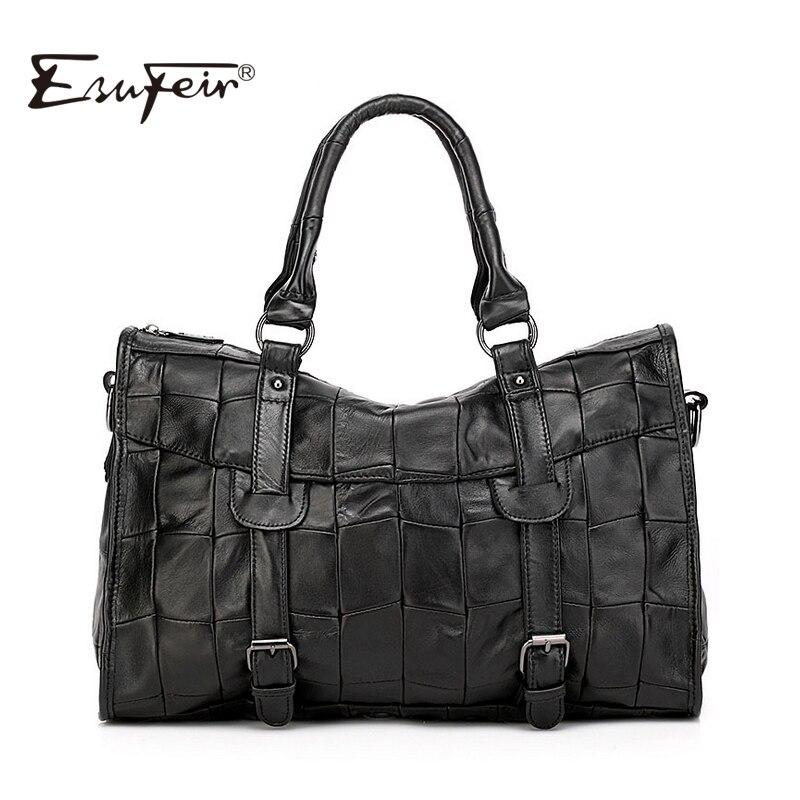 2018 ESUFEIR Brand Genuine Leather Women Handbag Patchwork Sheepskin Shoulder Bag Famous Design Women Crossbody Bag Casual Tote