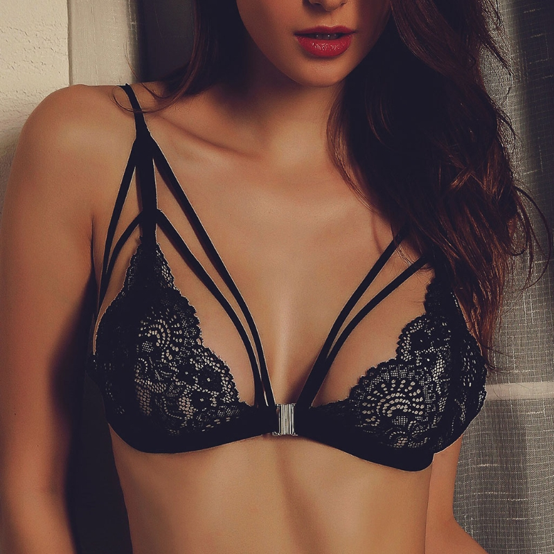 Women Ladies Sexy Push Up Wireless Bra Tops Lingerie Underwear See-through Hollow Bandage Floral Breathable Exotic Apparel/Bras