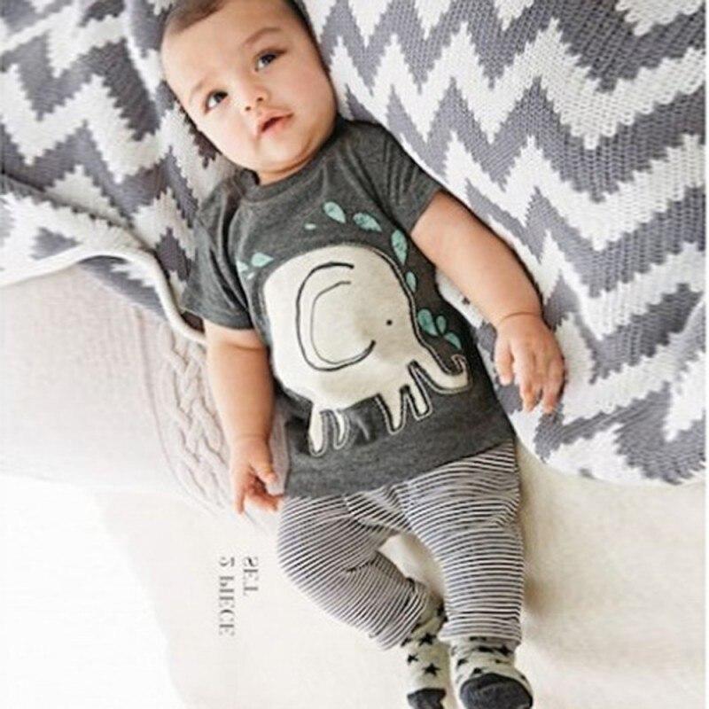 0-3Y 2PCS Cartoon Boy Baby Clothing Elephant Print Tops Shirt+ Long Pants Clothes Sets
