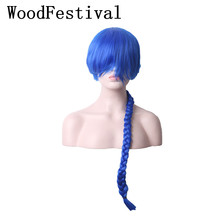 WoodFestival Single Braid Long Dark Blue Wig Cosplay Wigs with bangs synthetic [available with 10 11] skirt bezko psu 3001 dark blue