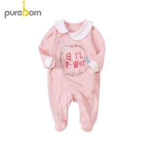 Image 3 - Pureborn yenidoğan bebek Footies ayaklı tulum bebek erkek giysileri pamuk bebek pijama uzun kollu bahar sonbahar kıyafeti