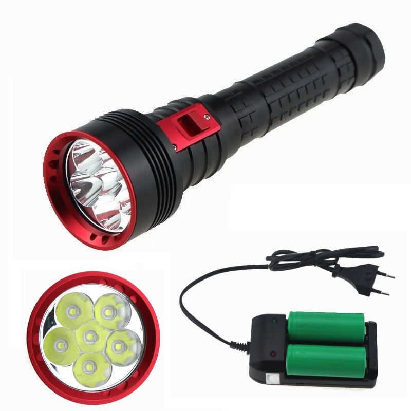 10000 Lumen Underwater Video Diving Flashlight Photograph Scuba 6x CREE XM-L2 LED Dive Torch Lamp + 26650 Battery + Charger trustfire underwater 100m cree xm l2 2000 lumen led 26650 battery dimming diving flashlight torch battery charger holster
