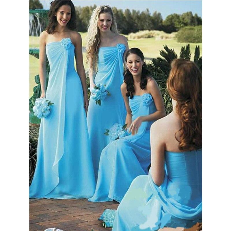 Bright Blue Bridesmaid Dresses With Flower Strapless Floor Length Gowns Vestidos Largos Al N23 Vestido De Festa In From