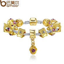 Bamoer 14K Gold Plated Crown Charm Fit Pandora Bracelet for Women With Murano Glass Beads PA1429