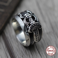 S925 pure silver men's ring individuality punk style Do old restoring ancient ways ring of the sword unique Gift to your lover