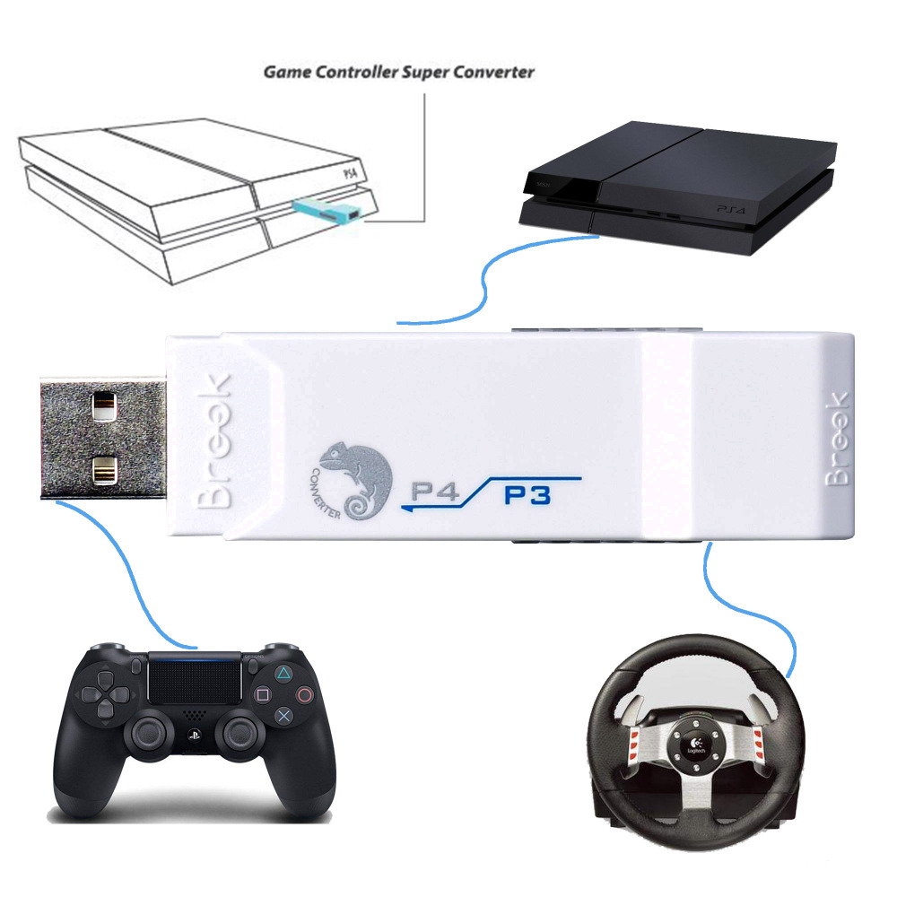 Brook for PS3 to for PS4 USB Gaming Super Converter Adapter White use for PS3 controller Joystick for Logitech G27/G29 for PS4 كاتم العقيلات