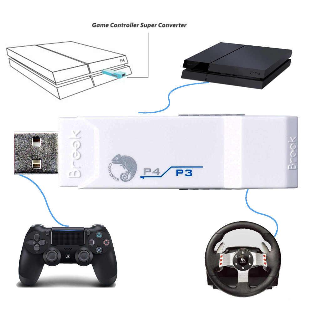 Brook USB Adapter für PS3 zu für PS4 Gaming Super Konverter Weiß verwenden für PS3 controller Joystick für Logitech G27/G29 für PS4