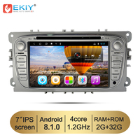 EKIY Car DVD Multimedia Player Android 8.1 GPS Navigation 2 Din For Ford Focus Mondeo S MAX C MAX Galaxy Auto Stereo Radio WiFi