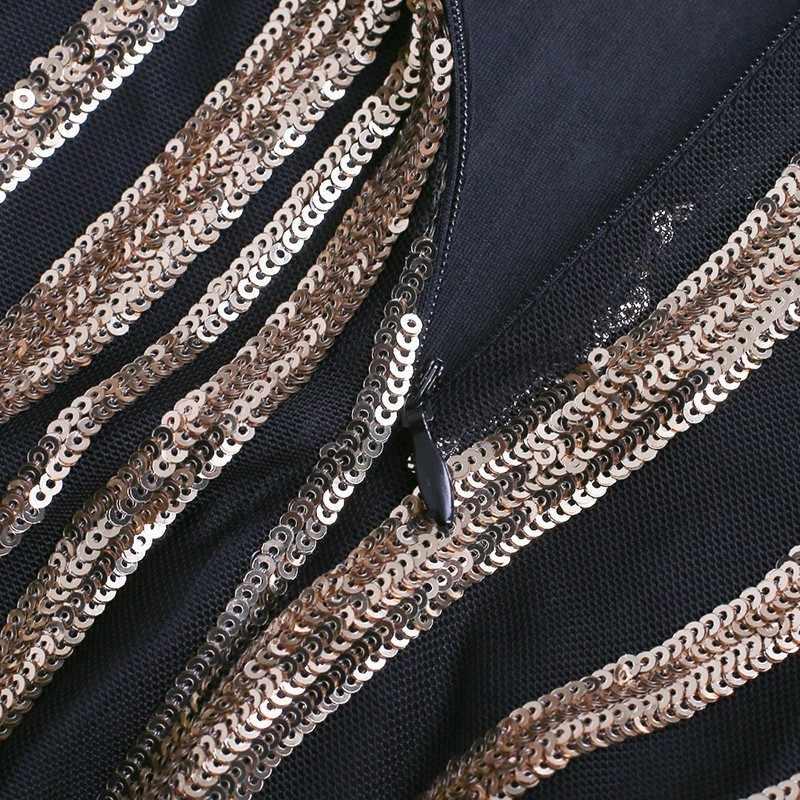 CHICEVER хит цвета облегающее платье женский воротник-стойка длинный рукав Высокая талия сплит подол золотые вечерние платья в блестках Мода Tide