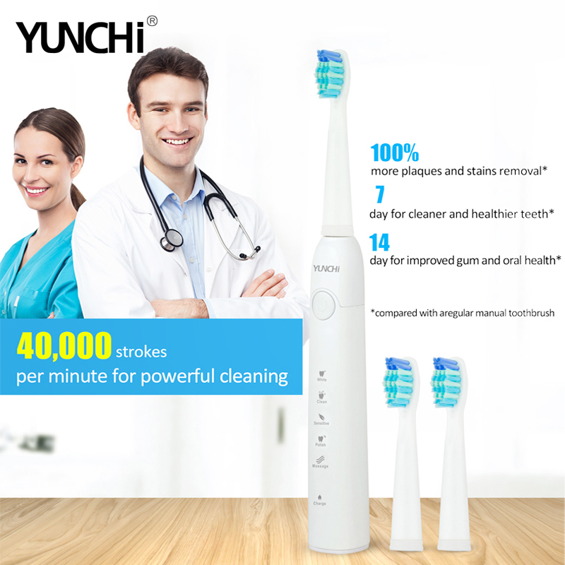 Electric Toothbrush Sonic Adult Timer Brush 5 Mode USB Charger Rechargeable Tooth Brushes and Replacement Heads Waterproof Gift