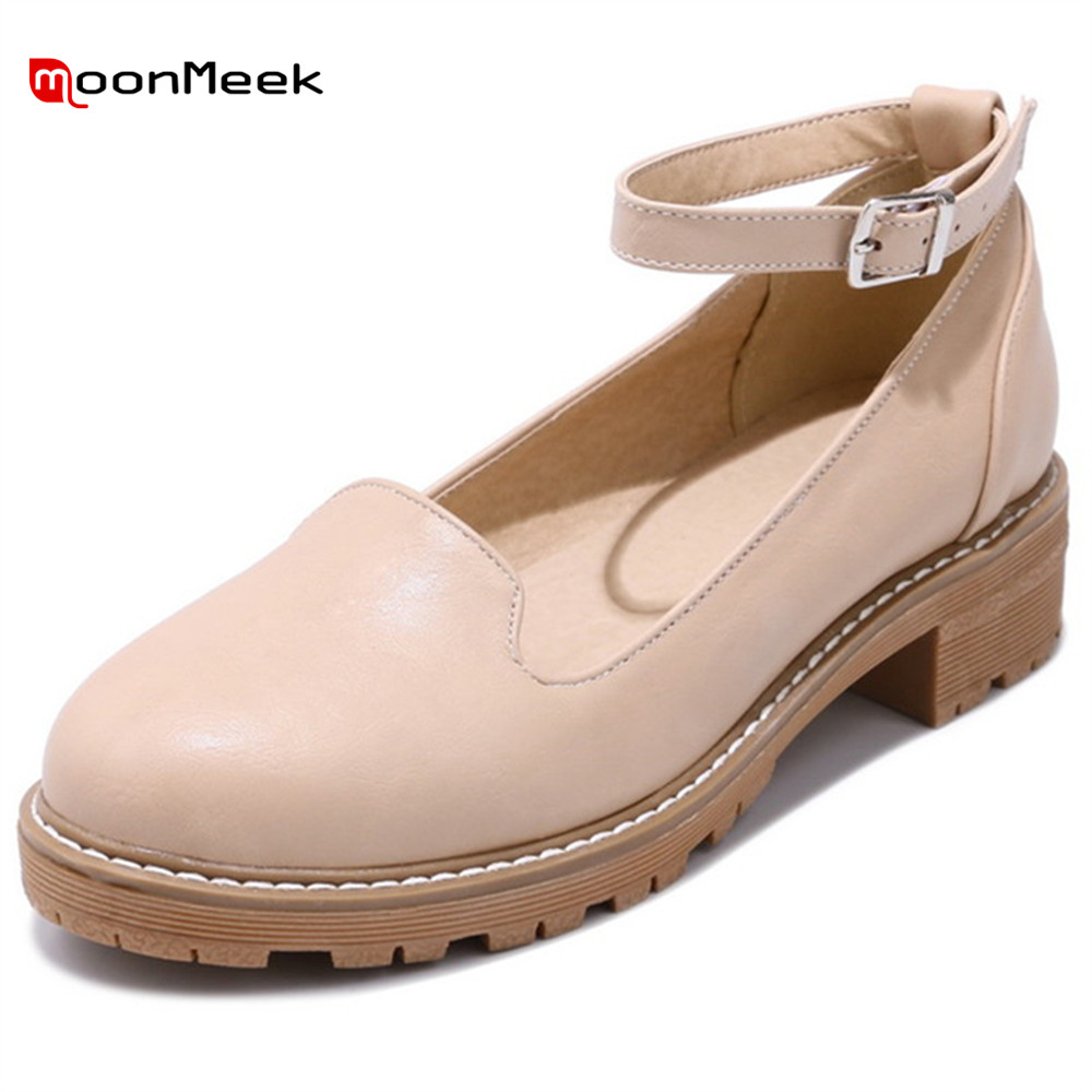 MoonMeek 2018 spring autumn hot fashion new sweet ladies shoes round toe platform shoes with buckle med heel women pumps new 2017 spring summer women shoes pointed toe high quality brand fashion womens flats ladies plus size 41 sweet flock t179
