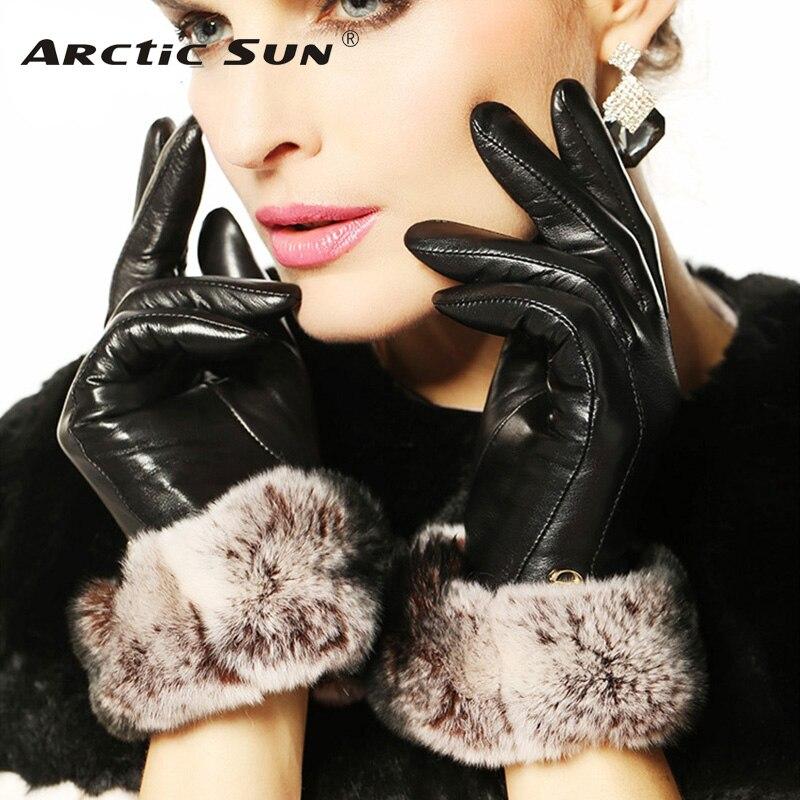 Fashion Winter Leather Gloves For Women Wrist Solid Rabbit Hair Real Genuine Lambskin Glove Female Sheepskin Driving EL024NC1