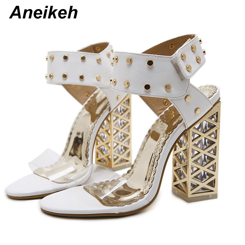 Aneikeh 2018 Sexy Rivets Sandals Gladiator Ankle Strap Peep Toe Sandals  Transparent High Heels Womens Dress c0810696f006