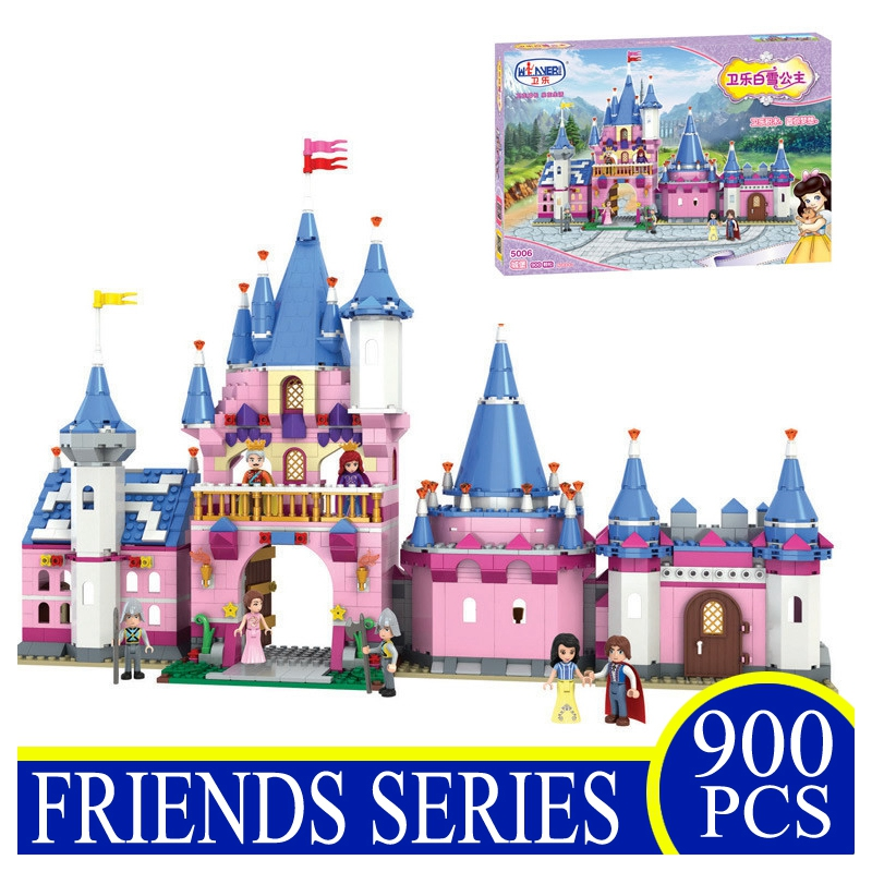 5006 900Pcs Snow White Princess's Pink Castle Action Building Blocks Bricks Children Gifts Girls Toys Compatible With Lepin 10551 elves ragana s magic shadow castle building blocks bricks toys for children toys compatible with lego gift kid set girls