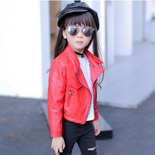 Kids Clothes Jackets for girls 2017 Autumn Girls Coats and Jackets Children Clothing Fashion Girls Leather Jacket 3 Colors 3-15Y
