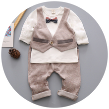 England Style Fashion Baby Kids Suits 2 pcs Boys Clothing Set Cotton Children Clothes Bow Tie