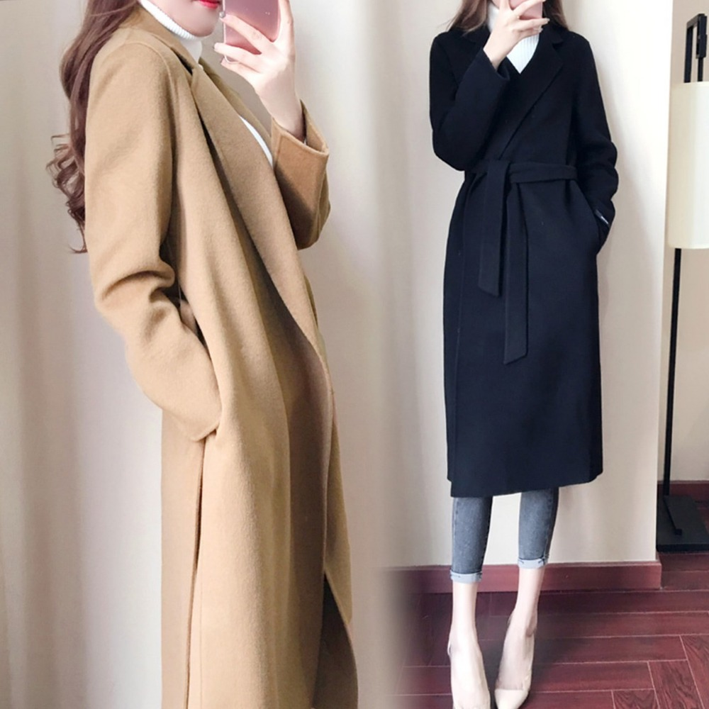 Casual Autumn Winter Wool Blend Elegant Long Smil Coat Fashion New Lapel Long Sleeves With Solid Color Women'S Clothing
