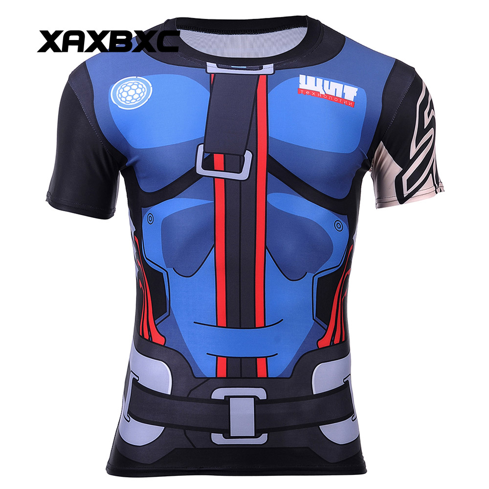 2018 Summer Cosplay OW Blizzard Game Tank Zarya Mecha Printed Quick Dry Tights Unisex Fitness T Shirt Tops Vest Tees Men T-shirt