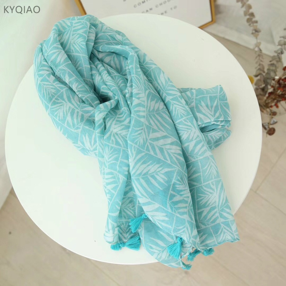 KYQIAO women blue hair scarf 2018 female autumn spring South Korea long bohemian blue leaves print head scarves muffler