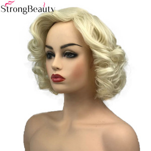 Image 3 - StrongBeauty Short Curly Synthetic Wigs Heat Resistant Blonde Hair Women Wig