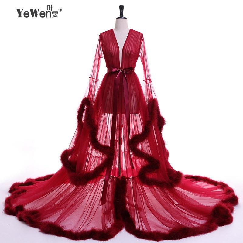 Сексуальный Халат Вечернее Платье V Шеи Тюль Вечерние Платья 2017 Длинные  Бордовое розовое платье на выпускной платья в пол прозрачные платья