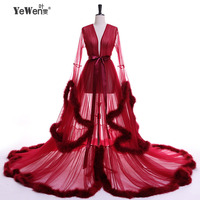 YeWen Vestido de festa Feather Long Sleeve Tulle Party Evening Dresses 2018 Sexy Burgundy Formal prom dress Gown Women Plus size
