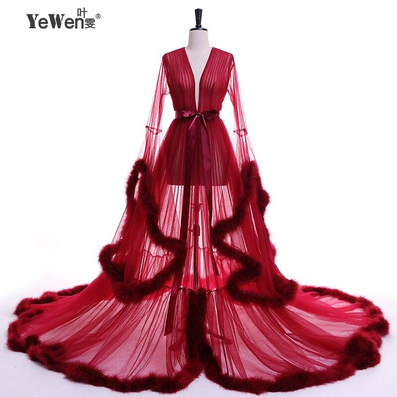 YeWen tenue de fête Plume à manches longues Tulle Parti robes de soirée 2019 Sexy Bourgogne robe de bal formelle Robe Femmes grande taille