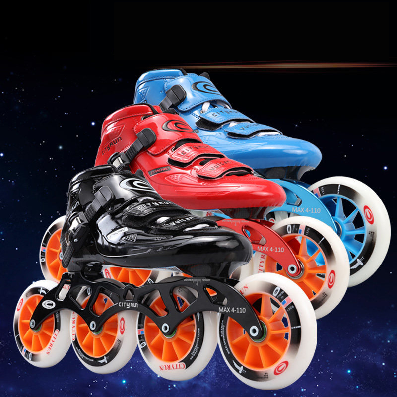 Ligne en Fiber De carbone Vitesse Patins Enfant Adulte Concurrence Patins 4 Roues Course De Patinage Patines Similaire Powerslide Cityrun IC03