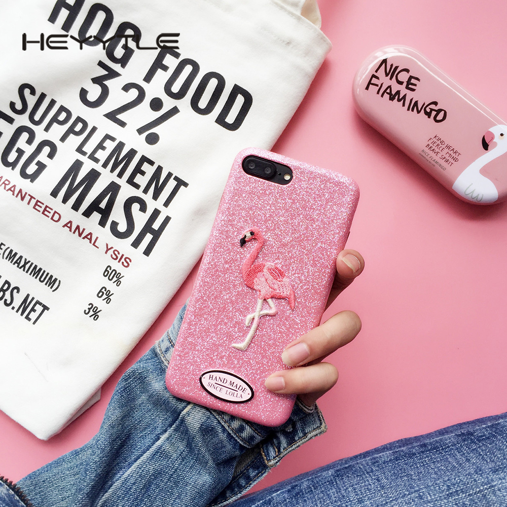 Heyytle Glitter Pink Flamingo Phone Case For Apple iPhone X 8 7 6S 6 Plus Cute Embroidery Bird Coque Back Soft TPU Cover Cases