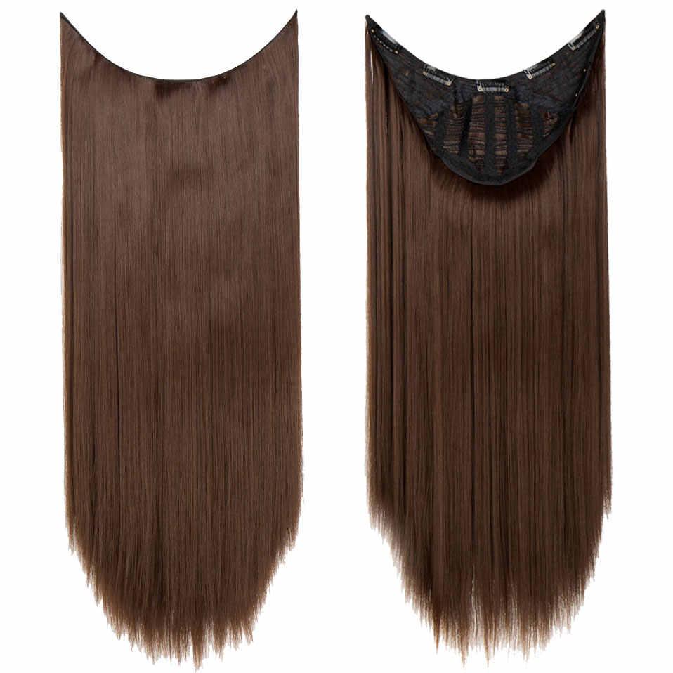 """S-noilite 26 """"Длинные прямые U части парик синтетические волосы для наращивания Клип ins поддельные волосы парик из натуральных волос коричневый полупарик"""