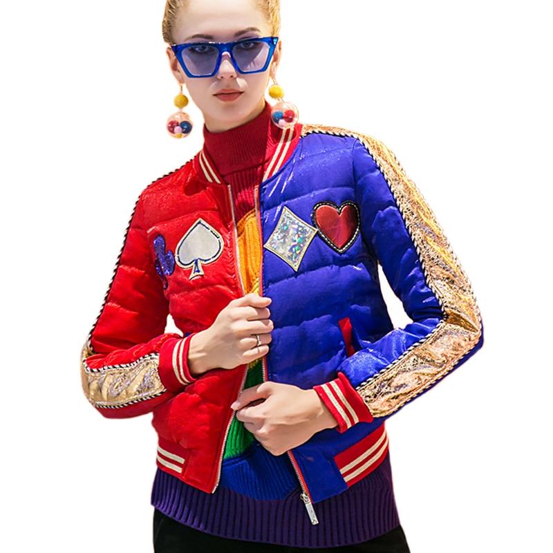 Élégant Vers Bas Spliced Parka Le Hiver As Grande Femme Manteau Baseball Pictuer Taille Vestes Veste Mode Surdimensionné Patch Chaud Femmes vdwZOdxq7