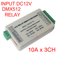 цена на 3 CH DMX 512 RELAY OUTPUT , 3CH dmx512 Controller,with case,LED DMX512 Decoder,Relay Switch Controller,Max 10A