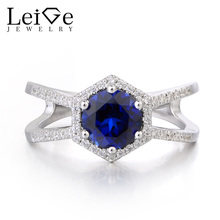Leige Jewelry  Round Cut Gemstone Lab Blue Sapphire Ring Wedding Rings Solid 925 Sterling Silver September Birthstone for Women