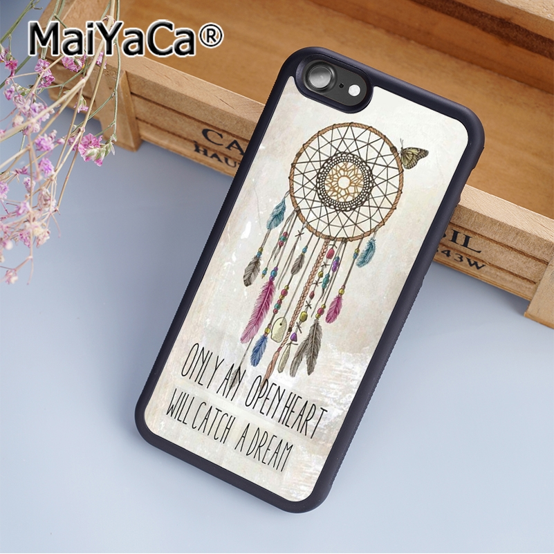 MaiYaCa Dream Catcher Quotes Soft TPU Mobile Phone Case Funda For iPhone 6 6S Back Cover Skin Shell