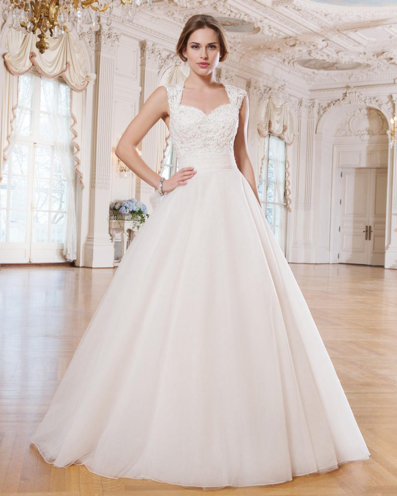 Wedding Fairytale Wedding Dresses online buy wholesale fairytale wedding dresses from china 2017 ivory tulle a nd lace straps ball gown embellished queen neckline beaded