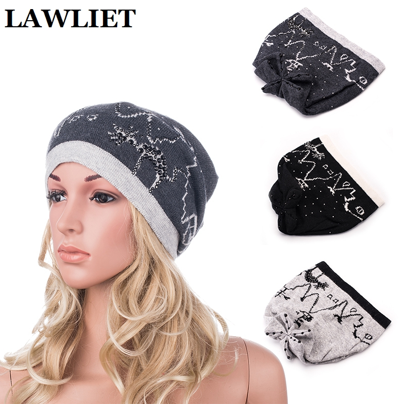 New 2017 Mink Women Autumn Winter Skullies Beanies Women Cap Brand Elastic Solid Knitted Female Hats Fashion Casual Gorro Cap 2017 new lace beanies hats for women skullies baggy cap autumn winter russia designer skullies