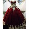 Sweetheart Borgoña vestido de Bola Puffy Vestidos de Noche Con Apliques de Oro Vestido Longo De Festa Vestidos de Noche A La Venta