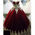 Sweetheart Burgundy Ball Gown Puffy Evening Gowns With  Gold Appliques Vestido Longo De Festa Evening Dresses On Sale