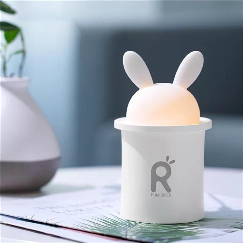цена Orignal Cute Rabbit Mini USB Humidifier Ultrasonic Aromatherapy Essential Oil Diffuser Mist Maker Fogger Air Humidifier For Home в интернет-магазинах