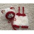 Recién nacido Bebé Apoyos de la Fotografía Apoyos de la Foto del Oso Del Traje Trajes Sombrero de Oso + Blanco Rojo Pantalones Cortos de Los Bebés Accesorios Fotografia