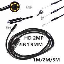 Newest 9MM 1M 2M 5MLens 2IN1 HD Inspection Snake Camera Endoscope USB Android Endoscope Mini Waterproof Camera Endoscopio