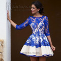 Robe de Cocktail Vestido de Festa Curto Royal Blue Lace Cocktail Dresses 2017 Short Party Homecoming Dress Organza Half Sleeve