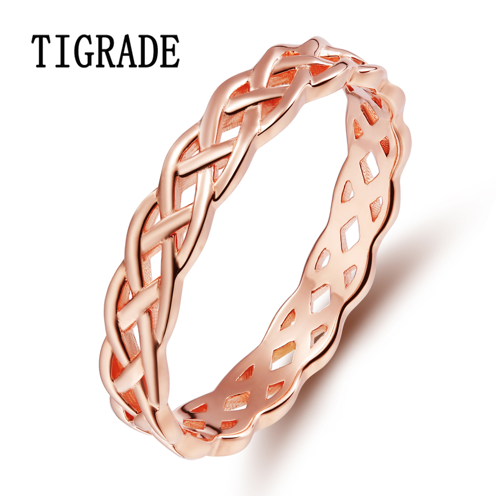 4mm Romantic Rose Gold 925 Sterling-silver-jewelry Celtic Knot Ring - Fine Jewelry