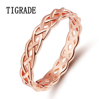 4mm Romantic Rose Gold 925 Sterling-silver-jewelry Celtic Knot Ring Eternity Band Engagement Wedding Rings For Women anle Sale