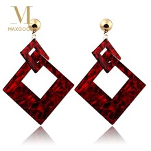 2018 Fashion Square Acrylic Drop Earrings For Girls Vintage Dangle Earrings For Women Statement Jewelry Wholesale Birthday Gift(China)