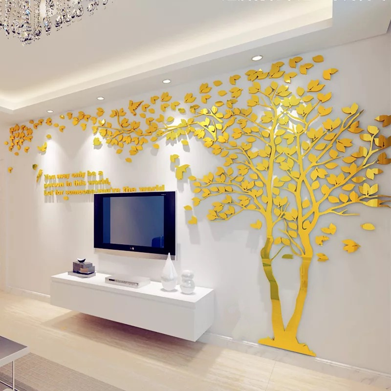 Large size couple tree mirror wall stickers tv backdrop for Autocollant dcoratif mural