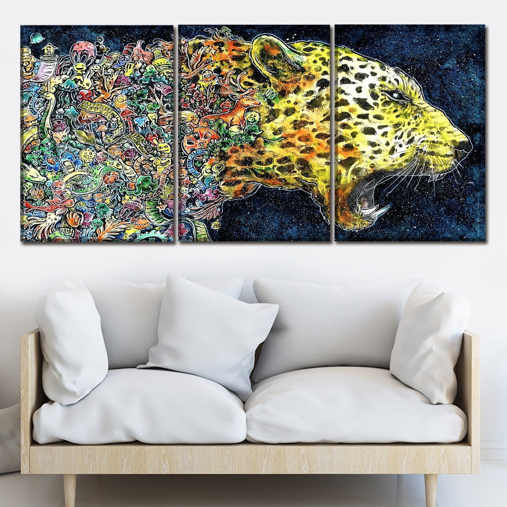 Modern Artwork One Set 3 Panel Wall Art Painting Abstract Artistic Cheetah Canvas Print Poster For Living Room Decor Framework